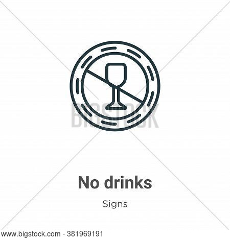 No drinks icon isolated on white background from signs collection. No drinks icon trendy and modern