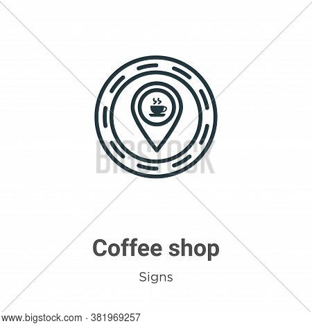 Coffee shop icon isolated on white background from signs collection. Coffee shop icon trendy and mod