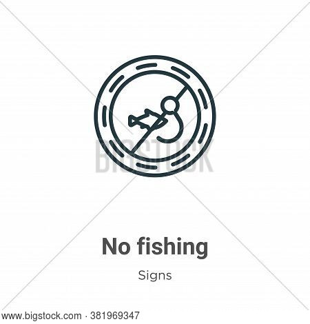 No fishing icon isolated on white background from signs collection. No fishing icon trendy and moder