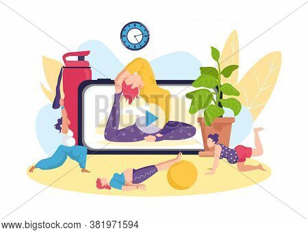 Yoga Fitness Exercise For Pregnant Woman, Online Healthy Activity Vector Illustration. Pregnancy Hea