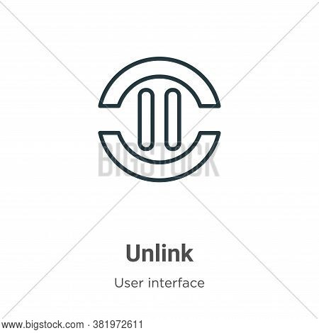 Unlink icon isolated on white background from user interface collection. Unlink icon trendy and mode