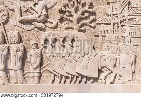 Chinese Relief On The Stone With Soldiers And Horses