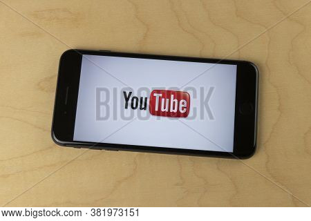 Indianapolis - Circa August 2020: Youtube Icon On A Smartphone. Youtube And Creators Earn Advertisin