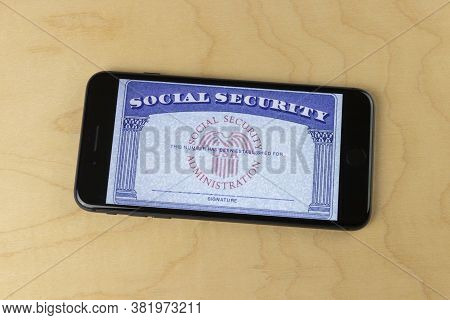 Indianapolis - Circa August 2020: Social Security Card Blank On A Smartphone. The Social Security Ad