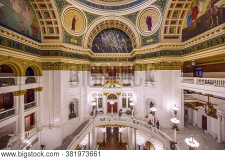 HARRISBURG, PENNSYLVANIA - NOVEMBER 23, 2016: The rotunda of the House of Representatives in the Pennsylvania State Capitol.