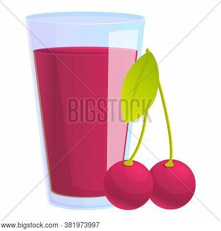 Cherry Juice Glass Icon. Cartoon Of Cherry Juice Glass Vector Icon For Web Design Isolated On White