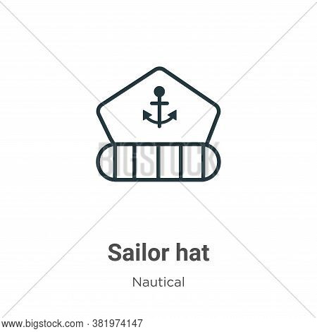 Sailor hat icon isolated on white background from nautical collection. Sailor hat icon trendy and mo