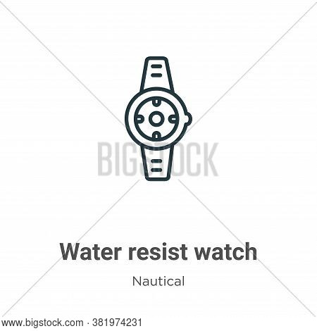 Water resist watch icon isolated on white background from nautical collection. Water resist watch ic