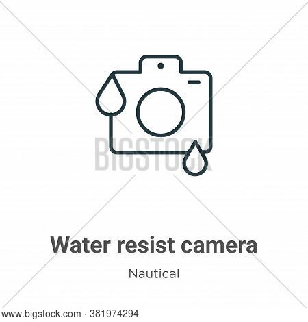 Water resist camera icon isolated on white background from nautical collection. Water resist camera