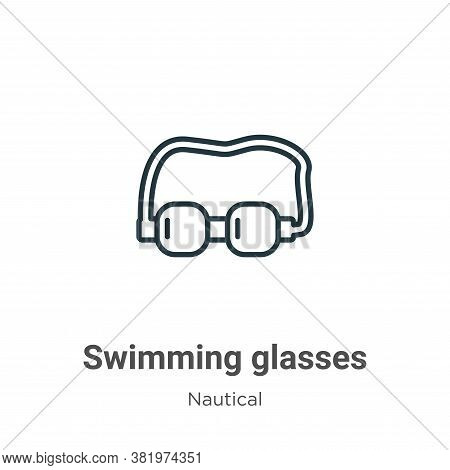 Swimming glasses icon isolated on white background from nautical collection. Swimming glasses icon t