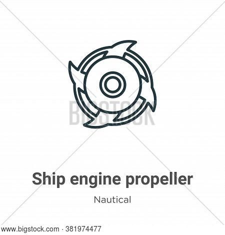 Ship engine propeller icon isolated on white background from nautical collection. Ship engine propel