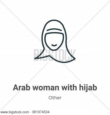Arab woman with hijab icon isolated on white background from other collection. Arab woman with hijab