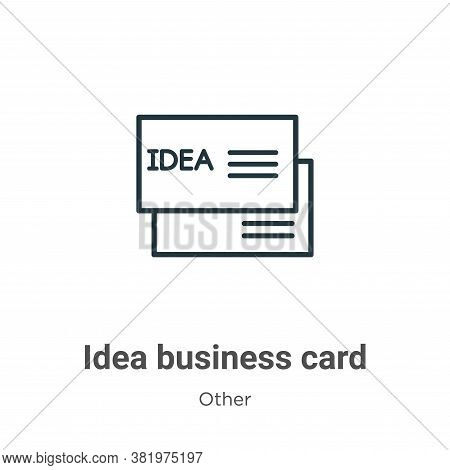 Idea business card icon isolated on white background from other collection. Idea business card icon