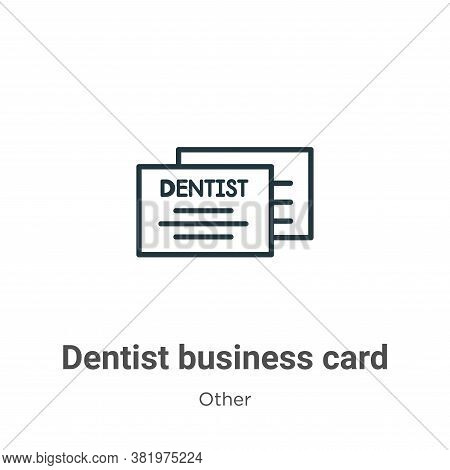Dentist business card icon isolated on white background from other collection. Dentist business card