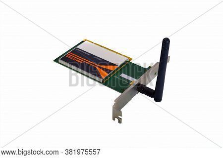 Wireless Pci Adapter Isolate On White Background Close-up.