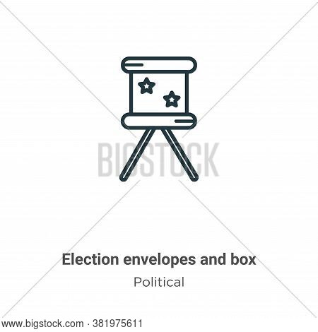 Election envelopes and box icon isolated on white background from political collection. Election env