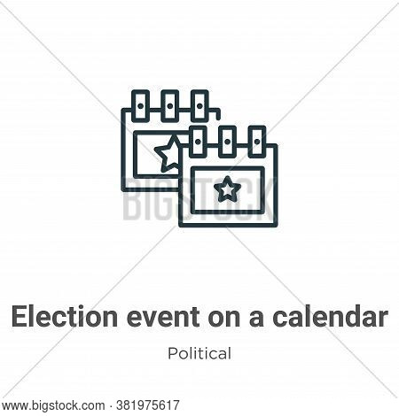 Election event on a calendar with star icon isolated on white background from political collection.