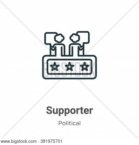 Supporter icon isolated on white background from political collection. Supporter icon trendy and mod