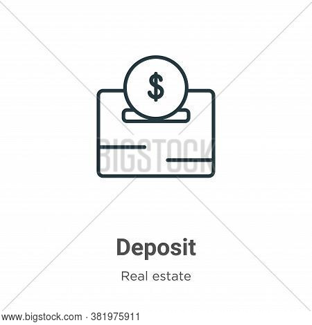Deposit icon isolated on white background from real estate collection. Deposit icon trendy and moder
