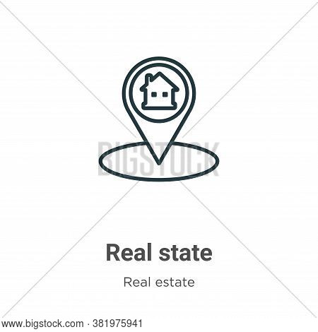 Real state icon isolated on white background from real estate collection. Real state icon trendy and