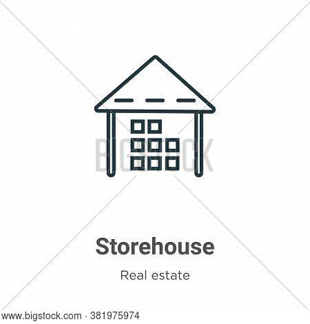 Storehouse icon isolated on white background from real estate collection. Storehouse icon trendy and