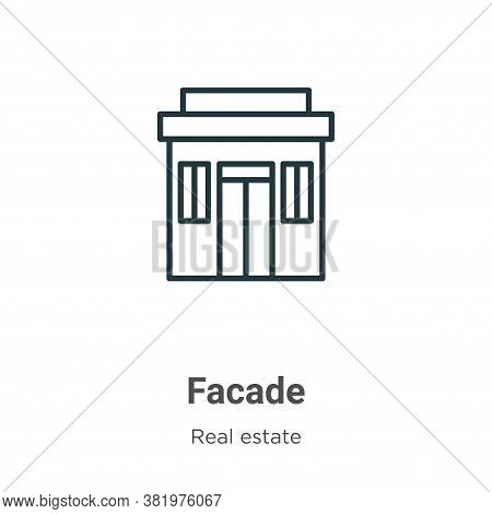 Facade icon isolated on white background from real estate collection. Facade icon trendy and modern