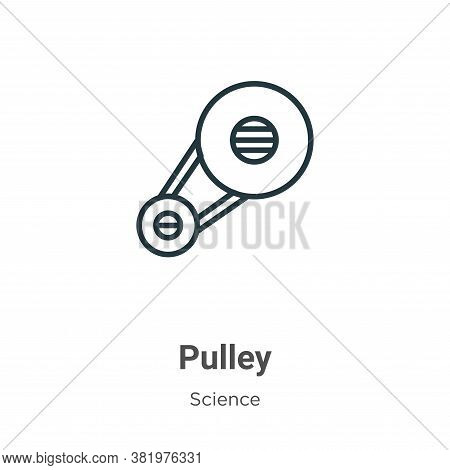 Pulley icon isolated on white background from science collection. Pulley icon trendy and modern Pull