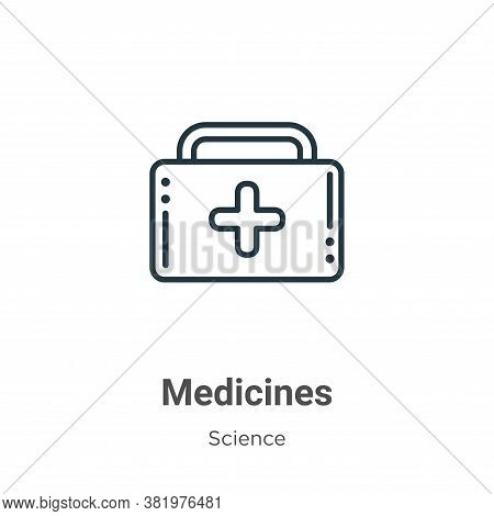 Medicines icon isolated on white background from science collection. Medicines icon trendy and moder