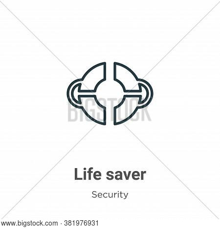 Life saver icon isolated on white background from security collection. Life saver icon trendy and mo