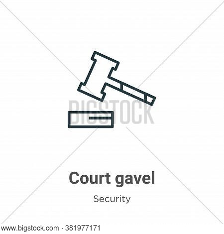 Court gavel icon isolated on white background from security collection. Court gavel icon trendy and