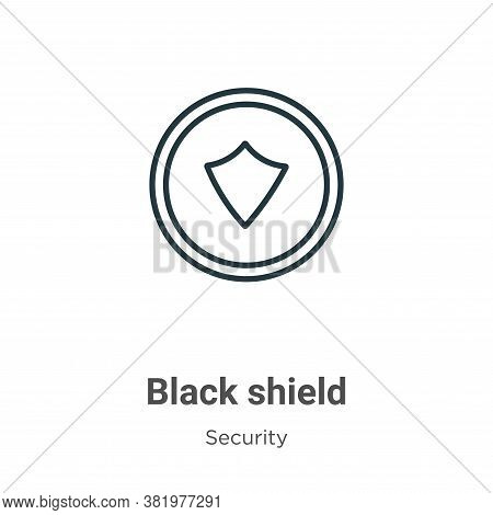 Black shield icon isolated on white background from security collection. Black shield icon trendy an