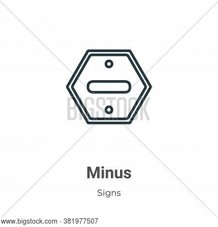 Minus symbol inside a circle icon isolated on white background from signs collection. Minus symbol i