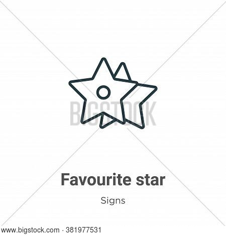 Favourite star icon isolated on white background from signs collection. Favourite star icon trendy a