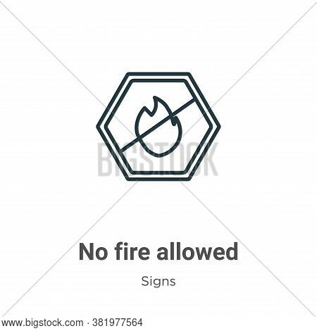 No fire allowed icon isolated on white background from signs collection. No fire allowed icon trendy