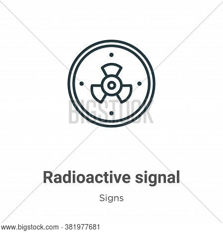 Radioactive signal icon isolated on white background from signs collection. Radioactive signal icon
