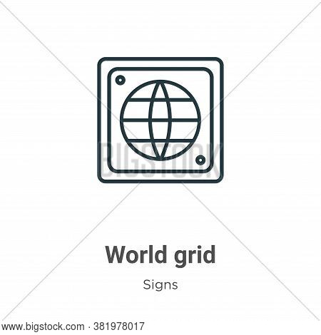 World grid icon isolated on white background from signs collection. World grid icon trendy and moder