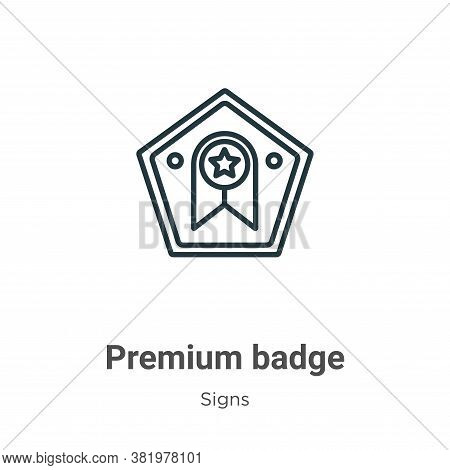 Premium badge icon isolated on white background from signs collection. Premium badge icon trendy and