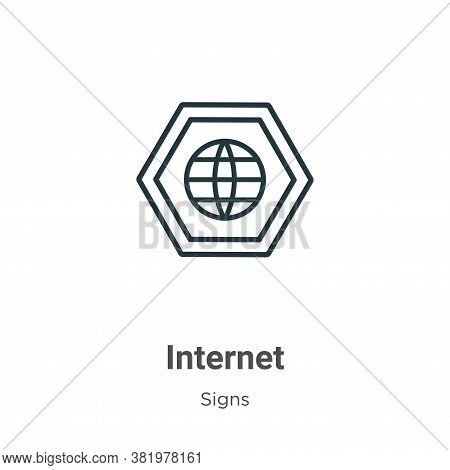 Internet symbol icon isolated on white background from signs collection. Internet symbol icon trendy