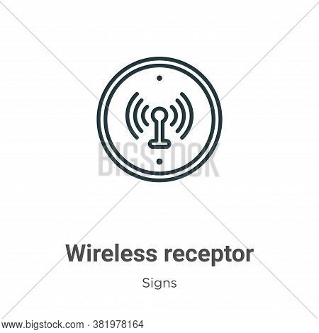 Wireless receptor icon isolated on white background from signs collection. Wireless receptor icon tr
