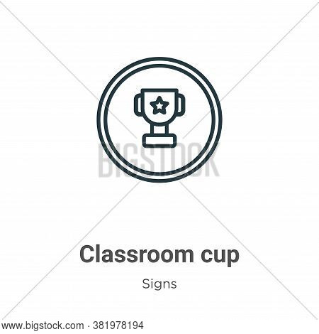Classroom cup icon isolated on white background from signs collection. Classroom cup icon trendy and