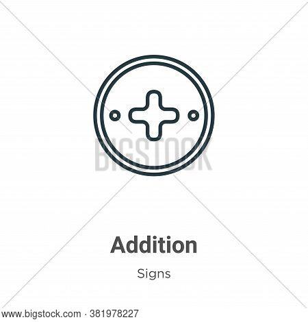 Addition icon isolated on white background from signs collection. Addition icon trendy and modern Ad