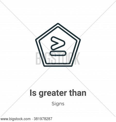 Is Greater Than Icon From Signs Collection Isolated On White Background.