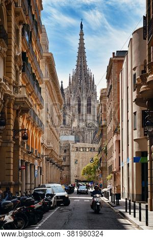 BARCELONA, SPAIN – MAY 13, 2019: Barcelona Cathedral in Gothic Quarter in Barcelona Spain