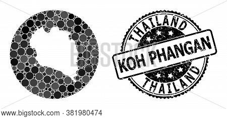 Vector Mosaic Koh Phangan Map With Round Elements, And Gray Watermark Seal Stamp. Subtraction Round