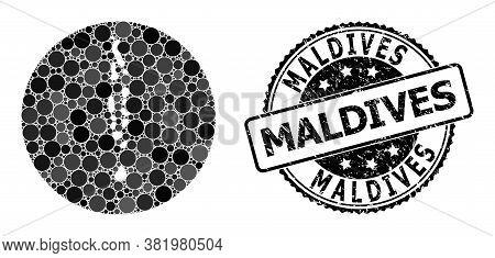 Vector Mosaic Maldives Map With Round Elements, And Gray Watermark Seal. Subtraction Circle Maldives