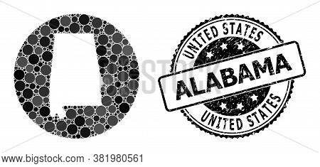 Vector Mosaic Map Of Alabama State Of Spheric Spots, And Grey Watermark Stamp. Hole Round Map Of Ala
