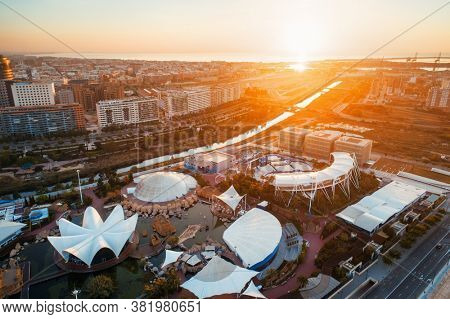 VALENCIA, SPAIN - MAY 22, 2019: Modern architecture of Valencia at sunrise