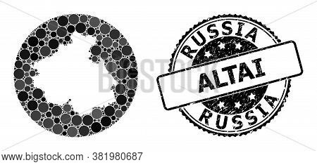 Vector Mosaic Map Of Altai Republic From Circle Items, And Gray Grunge Seal Stamp. Hole Circle Map O