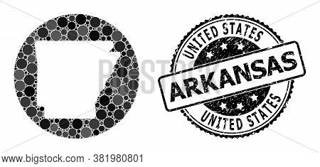 Vector Mosaic Map Of Arkansas State From Spheric Items, And Grey Scratched Stamp. Stencil Round Map