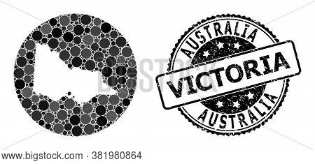 Vector Mosaic Map Of Australian Victoria Of Round Dots, And Gray Rubber Seal. Subtraction Circle Map